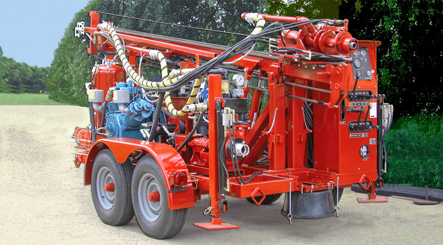 The powerful DR100 trailer-mounted water well drilling rig
